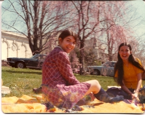 My roommate Paula and friend Adriana, enjoying a spring day on the green