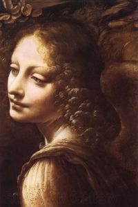 Detail of an angel in Madonna of the Rocks, Leonardo da Vinci